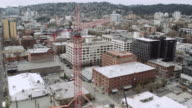 Aerial view of a crane in Portland video