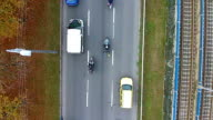 Aerial view of a highway with Motorcycles on it video