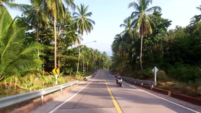 Aerial view of a motorcyclist riding on a road in the jungle on the island video