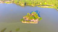 Aerial view of a reservoir in the morning video