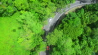 Aerial view of a road in a forest video