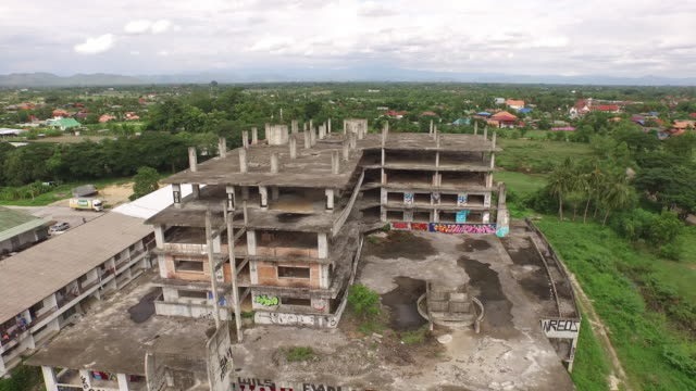 Aerial view of abandoned building video