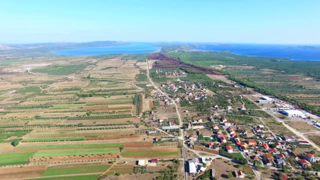 Aerial view of agriculture in dalmatia, Croatia video