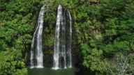 Aerial view of amazing double waterfall in tropical rain forest jungle video