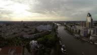Aerial view of Amsterdam city river skyline video