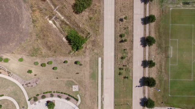 Aerial view of an empty sports complex and road video