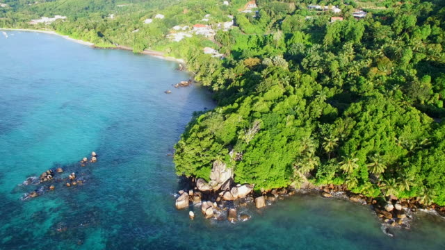 Aerial view of Anse Royale beach on Mahe Island, Seychelles. video