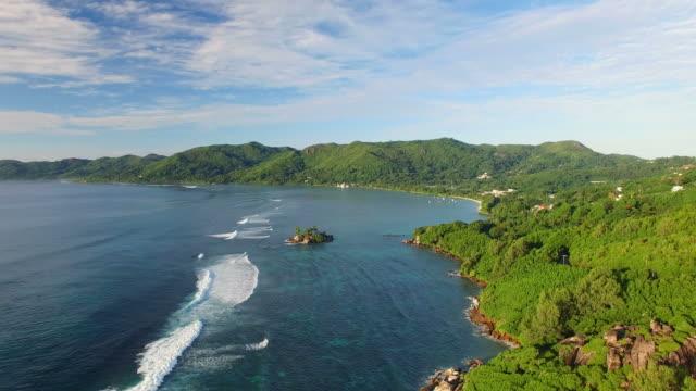 Aerial view of Anse Royale coast on Mahe Island, Seychelles. video