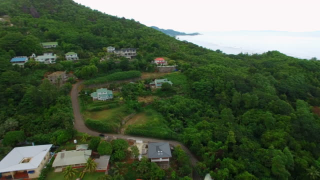 Aerial view of Anse Royale on Mahe Island, Seychelles Islands. video