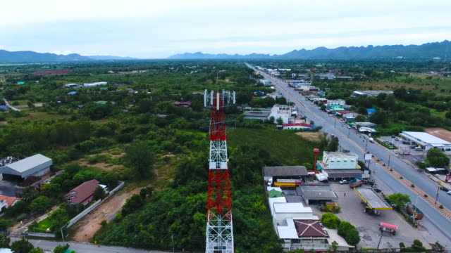 Aerial View of Antenna Tower with crane shot video