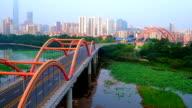 Aerial view of arch bridge in Shenzhen video