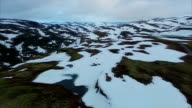 Aerial view of Aurlandsfjellet mountain pass in Norway. video