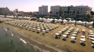 Aerial view of beach in Larnaca video