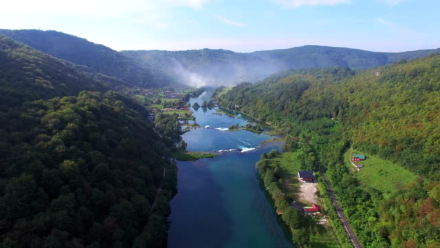 Aerial view of beautiful green canyon and waterfalls of Una river, Bosnia video