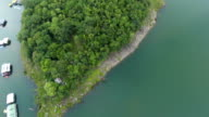 Aerial View of Beautiful Gulf and raft in Mountains at Sunset video