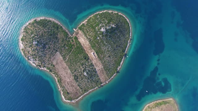 Aerial view of beautiful Island of Galesnjak, Croatia video