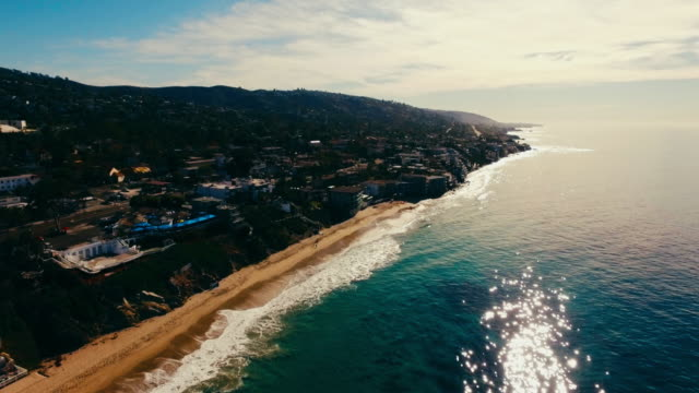 Aerial view of beautiful Laguna Beach in the early morning sun. video