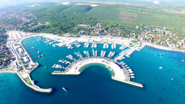 Aerial view of beautiful modern marine of Sukosan, Croatia video