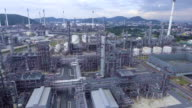 Aerial view of Beautiful Petroleum Chemical Refinery  Plant with Complex Pipeline. Flyaway shot. video