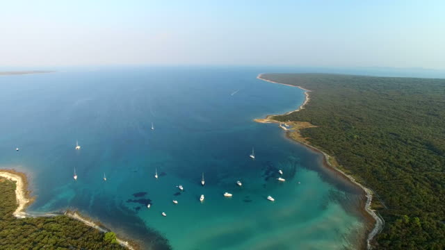 Aerial view of beautiful Slatinica bay, Croatia video