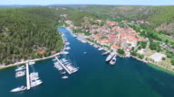 Aerial view of beautiful small town Skradin, Croatia video
