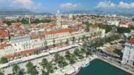 Aerial view of beautiful Split city on Adriatic coast video