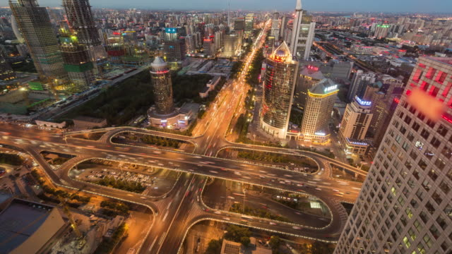T/L WS HA ZO Aerial View of Beijing Road Intersection (Matching Day & Night) video