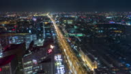 T/L WS HA ZI Aerial View of Beijing Skyline and Chang'An Avenue at Night video