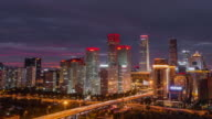 T/L HA LR PAN Aerial View of Beijing Skyline at Dawn, Night to Day Transition video