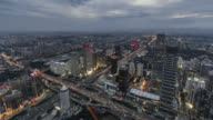 T/L WS HA TU Aerial View of Beijing Skyline, Day to Night Transition / Beijing, China video