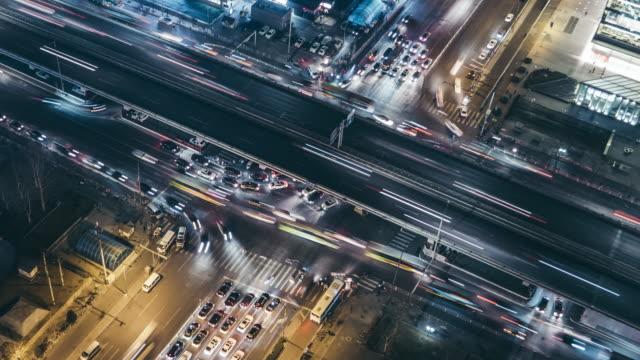 T/L CU HA ZI Aerial View of Beijing Traffic at Night video