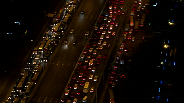 Aerial View of Beijing Traffic Jam at Night video