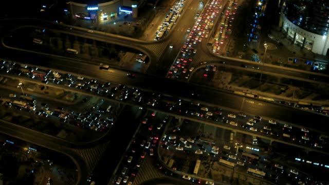 Aerial View of Beijing Traffic Jam at Night video