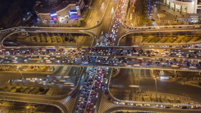 T/L MS HA ZO Aerial View of Beijing Traffic Jam video