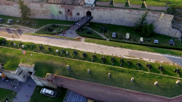Aerial view of Belgrade fortress and the Belgrade Victor statue video