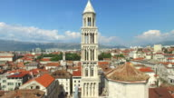 Aerial view of bell tower of Cathedral of Saint Duje in Split video