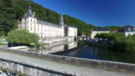 Aerial view of Benedictine Abbey of Brantome and river, France video