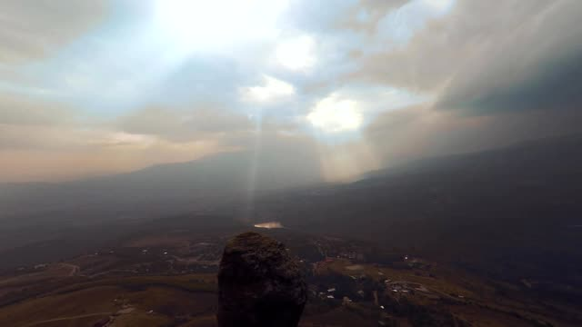 Aerial View of Besh-Kosh mountain, near Bakhchisaray. Crimea. Autumn Summer. Sunset sunrise. The outer ridge of Crimean mountains is a series cuesta gradually rise to about 350 m. video