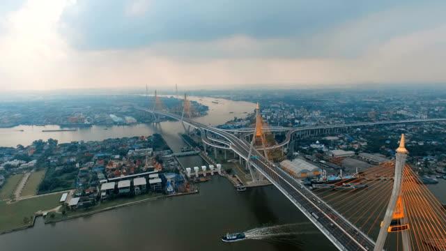 aerial view of bhumibol 1,2 bridge video
