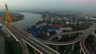aerial view of bhumibol bridge in bangkok thailand video