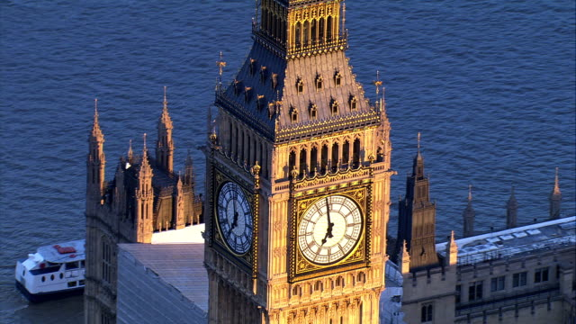 Aerial View of Big Ben bell tower and clock face video
