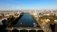 Aerial View Of Big Ben Parliament London Eye and River Thames In London video