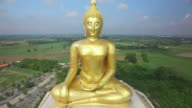 Aerial view of Big Buddha statue in Wat Muang,thailand. video