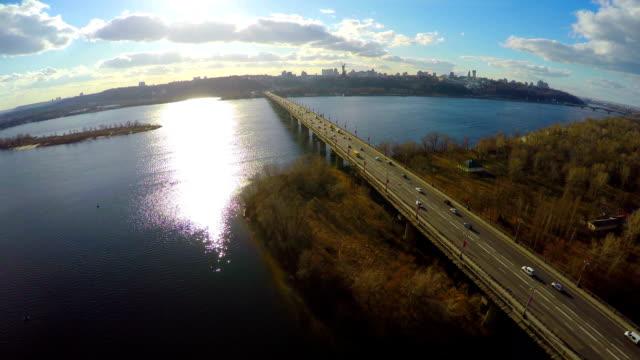 Aerial view of big city skyline, bridge traffic, nice park video