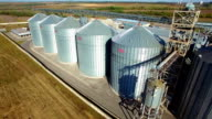 Aerial view of big grain elevators video