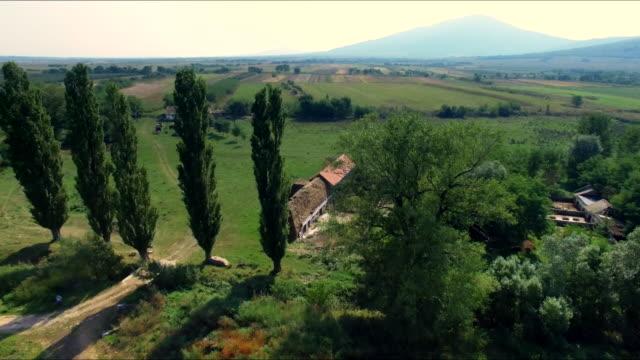 Aerial view of biodynamic farm video