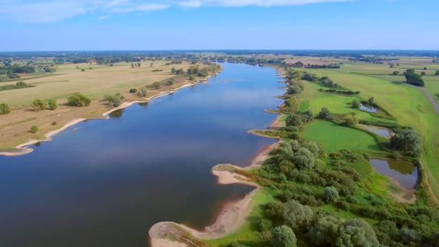 Aerial View of biosphere reserve 'Niedersächsische Elbtalaue' and River Elbe in Lower Saxony, Germany video