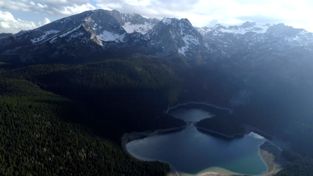 Aerial view of Black lake in Durmitor national park in Montenegro video