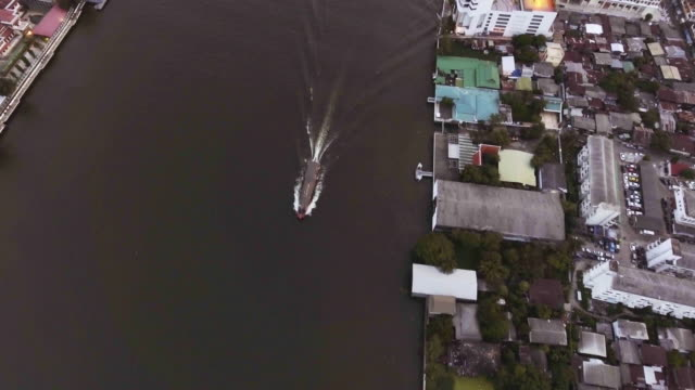 Aerial View of Boat Sailing in the Chaopaya River video