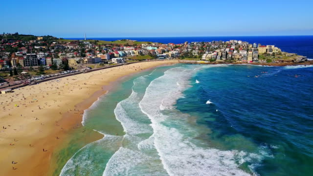 Aerial view of Bondi Beach or Bondi Bay at sunny day in Sydney video